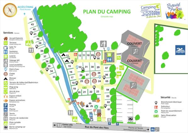 Plan du camping Le Pont des Fées à Baugé en Anjou